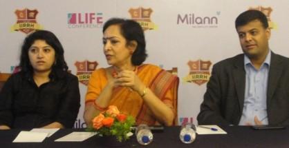 From LtoR Dr.Aarthi, Scientific Cordinator, Dr.Kamini Rao, Org Chairperson, Mr.Raj Gopal CEO Milann Fertility Center.