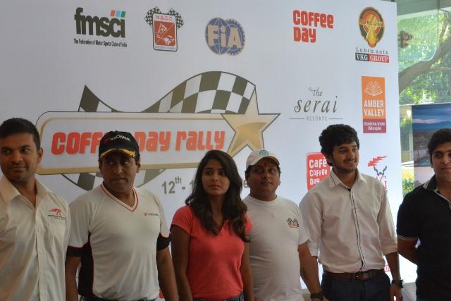 Rally drivers- Karna Kadur, Rahul Kanthraj, Harshitha Gowda, Ritesh Guttedar, Dean Mascarenhas, Ashish Ramaswamy share their excitement of participating in the Coffee Day rally 2014