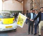 TaxiForSure Cofounders  Raghunandan G  & Aprameya R flagging off the new fleet of Nano taxis in Bangalore