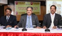 Vijaya Bank MD & CEO  Kishore Sansi (centre) Executive Directors B. S. Rama Rao and Y. Nageswara Rao.