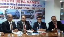 From Right Mr. Jawahar S Nagpal, Chairman, Diamond Jubilee Celebrations, Mr. Deepak R Narang, President, Sindhi Seva Samiti, Mr. Rajkumar L Kukreja, Chairman, Sindhi Seva School & Academy of Skills & Mr. Sanjeev Atmaram