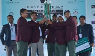 L-R Divakar Vasu (Team Manager), H R Srinivasan (Owner Take Chennai), S Chikkarangappa, SSP Chawrasia and Khalin Joshi with the Louis Philippe Cup Trophy here at Bangalore