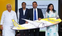 Scoot Launch- (L-R) Shri RV Deshpande Mr DV Prasad Mr Bharath Mahadevan