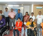 Dr Somesh Mittal, CEO  & Dr Rajesh B Iyer, Consultant Neurologist and Epileptologist, Vikram Hospital donated wheel chairs for MS patients