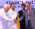 (L-R)R.V. Deshpande, Minister of Higher  Education and Tourism of Karnataka_ Shri. R. Roshan Baig, Hon'ble Minister for  Urban Development_ Farook Mahmood, FIABCI World President_ Irfan Razack, CMD,  Prestige Group