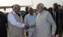 Hon'ble Prime Minister of India Shri. Narendra Modi is being see off by Hon'ble Governor Shri.Vajubhai Vala at HAL Airport Bengaluru.