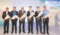 L-R Mr. Leon Anthony, BD Manager, Aver mr. Amith Kumar, Sales Manager South West India Region, QNAP Mr. Balaram Menon, President WTC, Bengaluru Mr.Thomas Huang, ED, Exhibition Dept, Taipei