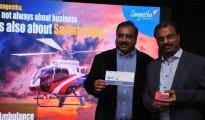 Subhash Chandra MD Sangeetha Mobiles with Capt Arun Sharma Managing Director of Aviators Air Rescue