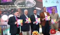 Left to Right – Panel releasing the IICF 2018 Brochure  Jagdish Patankar, Co-Founder & MD, MM Activ Sci-Tech Communications Anil Kumar Bhandari, President, Coffee trust Priyank Kharge, Hon'ble Miniter of IT, BT and Tourism, Govt of Karnataka Srivats Krishna, Secretary, Coffee Board of India, Govt. of India Sanjiv Sarin, MD, TATA Coffee