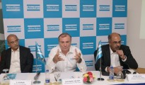(L-R) S. Kumar, Business Line Manager - portable energy division, Giovanni Valent, Managing Director, Atlas Copco and Nitin Lall General Manager, Power Technique Customer Center at a Press conference in Bangalore