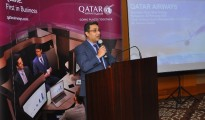 Naveen Chawla, Senior Manager - Indian Subcontinent, Qatar Airways speaks at the Business Class Event in Bengaluru