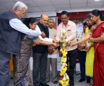 (L-R) Mr. M K Krishna, Chairperson, Eye Bank Association of India -South; Dr. Sujatha, District Programme Manager, District Blindness Control Division, Karnataka State Health and Family Welfare Society; Dr. K Bhujang Shetty, Chairman & Managing Director, Narayana Nethralaya; Mr. M B Gurudev, Officer In Charge, Doddaballapur Eye Collection Centre; Mr. B S Badriprasad, President, Giants Group of Garden City Bangalore; Mr. Arvind Kumar, Member of Executive Committee, EBAI and Senior Manager, Vasan Eye Bank, Hyderabad; Ms. A S Manjula, Chief Transplant Co-ordinator, Government of Karnataka and Dr. B C Ratna, Joint Director (Opthalmology), Blindness Control Division, Karnataka State Health and Family Welfare Society inaugurating the 2nd Dakshina Bharath Nethradhan Sammelan - Accelerated Laksha Laqshya 2018, a campaign by EBAI and NN with a goal to reach One Lakh corneal transplants by 2020, commemorating the 33rd National Eye Donation Fortnight.