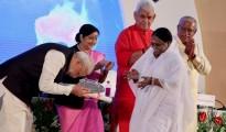 Pix 1 - Amma Receives Swacchata Award from PM Modi