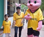 Mandira Bedi with son Vir and Duracel Bunny - Copy