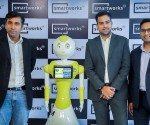 L-R Balaji Viswananthan, CEO - Invento Robotics, Smart Mitri, Neetish Sarda, Founder - Smartworks, Harsh Binani, Co-founder -Smartworks