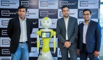 L-R Balaji Viswananthan, CEO - Invento Robotics, Smart Mitri, Neetish Sarda, Founder - Smartworks, Harsh Binani, Co-founder -Smartworks