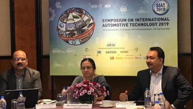 (L-R) A A Badusha, Senior Deputy Director-ARAI, Ms.Rashmi Urdhwareshe, Director, ARAI,Mr.Vikram Kirloskar, President, Automotive Research Association of India.