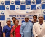 Mr. Kasim Shariff with his wife, team of doctors and staff members from Narayana Health City