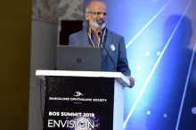 President of Bangalore Ophthalmic Society, and Convenor of Session on 'Practice Management', Dr. G.V. Divakar addressing the gathering during the BOS Summit 2019 - Envision - 'Practice Beyond 2020'. This is the 7th edition of the annual BOS Summit, concentrating on 'BOS Netrashaala' for postgraduate students and fresher doctors; upskilling and hands on training for current practitioners; and most importantly sessions on non-medical requirements for running a practice.