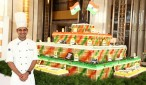 Chef Manoj Painuly with the Independence Day Cake at Shangri-La Hotel Bengaluru on August 15 2017