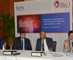 L- R:  Dr. Willem Verberk, PhD., Cardiovascular Research Institute Maastricht (CARIM), Dr BV Baliga (Cardiologist)–Director, Baliga Diagnostics, Bangalore, Dr. Sanjeev Hiremath (Nephrologist) – Sagar Hospital, Bengaluru and Dr. Viraj Suvarna, President – Medical, Eris Lifesciences at a press conference in Benagluru today to discuss India Heart Study findings.