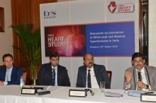 L- R:  Dr. Willem Verberk, PhD., Cardiovascular Research Institute Maastricht (CARIM), Dr BV Baliga (Cardiologist)–Director, Baliga Diagnostics, Bangalore, Dr. Sanjeev Hiremath (Nephrologist) – Sagar Hospital, Bengaluru and Dr. Viraj Suvarna, President – Medical, Eris Lifesciences at a press conference in Benagluru today to discuss India Heart Study findings.