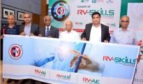 "(L-R) MP Shyam, Trustee, RSST, Mr. Venkatesh Prasad Group CEO, RV-SKILLS, Dr. M.K. Panduranga Setty President, Rashtreeya Sikshana Samithi Trust, CV Hayagriv Vice President RSST, Mr. Manu Saale Managing Director and CEO of Mercedes-Benz Research & Development India (MBRDI), Mr. AVS Murthy Hon. Sec, Rashtreeya Sikshana Samithi Trust unveiling ""RV-SKILLS"" – Center for Skill Development, Training and Research in India for emerging technologies."