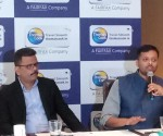 Rajeev Kale (left), Santosh Khanna, heads of Thomas Cook India addressed the press meet in Bangalore