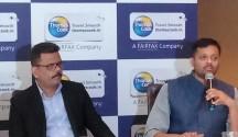 Rajeev Kale (left), Santosh Khanna, heads of Thomas Cook India addressed the press meet in Bangalore