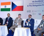 Mr. CS Prakash, Hon. Consul of the Czech Republic, Mr. Patrik Reichi, CEO, CzechInvest, H. E. Mr. Milan Hovorka, Ambassador of the Czech Republic to India, Mr. Vinod Kumar, President, India SME Forum and Mr. Ravinder Bhan, Business Coach seen on stage in the INDIA SME FORUM 'Business Xpo'.