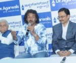 Dr. Ashvin  Agarwal, Executive Director and Chief of Clinical Services,  Dr.Chandrashekhara Kambara, Dr. Nataraj, Head- Clinical Services, & Dr. Ravi, Regional Medical Director addressing the media.
