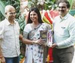 (L-R) Book was launched by  Shiva Kumar Shamanna,Sowmya Reddy Shamanna and Mr.Venkatesh Narasimhan,MD of Co-optex